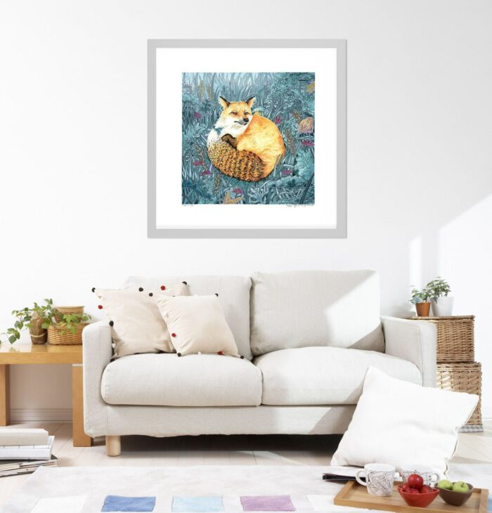 Fox Art Print - Square Extra Large Wall Art of Fox Watercolor Painting / Woodland Animals / Wildlife Art / Animal Nursery Decor by Karolina Szablewska