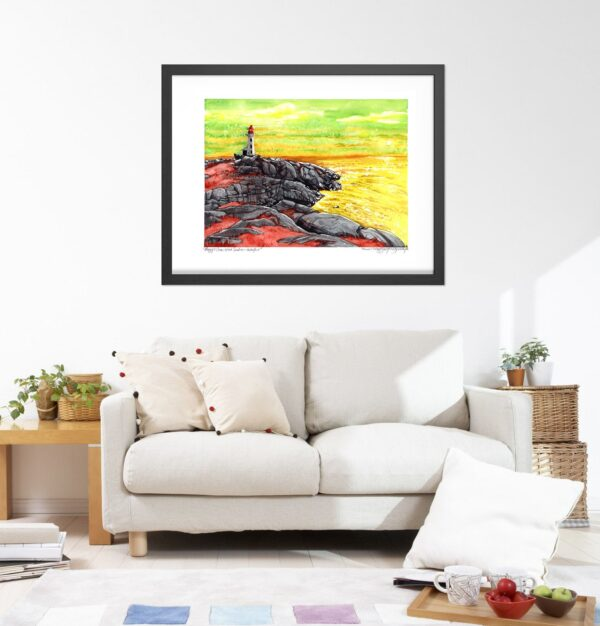 Peggy's Cove Art Prints - Ocean Extra Large Wall Art of Nova Scotia / Canadian Landscape Painting / Surrealism Print by Karolina Szablewska