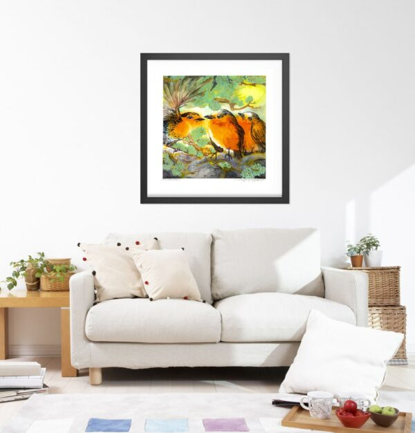 3 Red Robins Art Print - Whimsical Large Wall Art / Bird Print for Animal Nursery Decor / Square Watercolor Painting by Karolina Szablewska