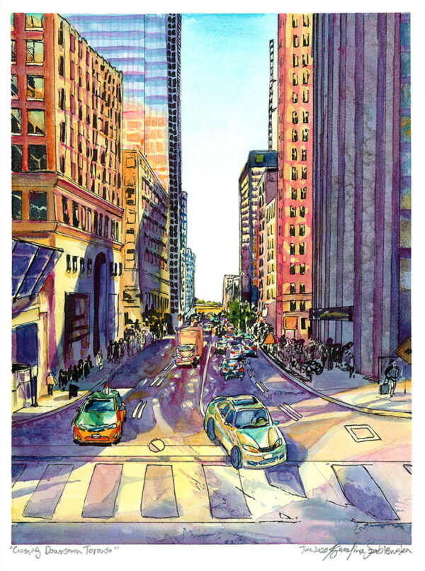 downtown toronto watercolor painting by karolina szablewska canadian city