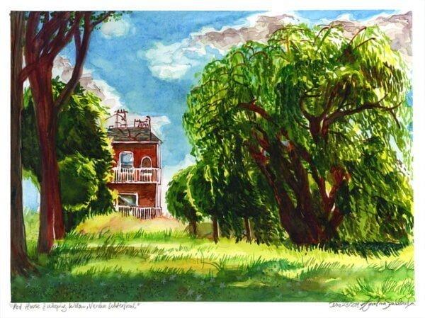 red house painting weeping willow painting by karolina szablewska urban sketch