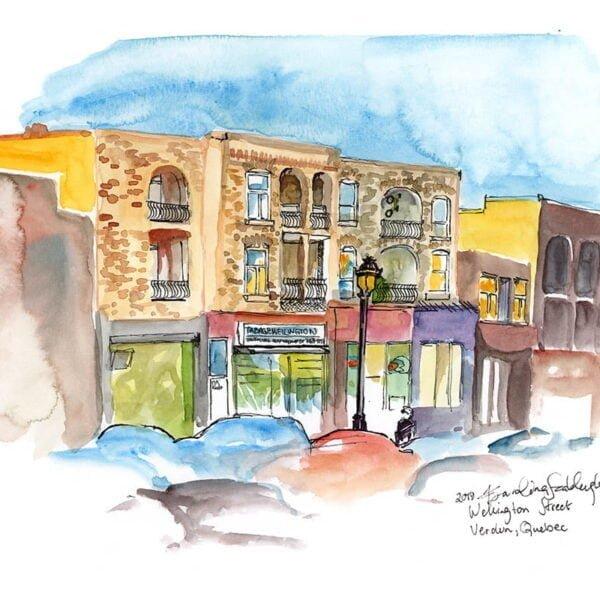 tabagie wellington street verdun quebec watercolor painting original art by karolina szablewska