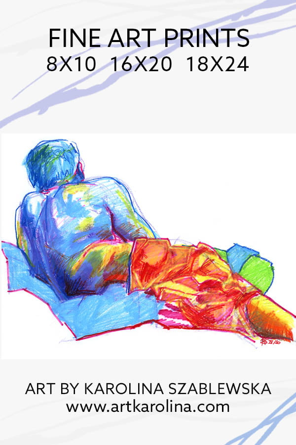 Rainbow Art Prints - Figure Drawing of Male Nude Model Reclining from Behind / Figurative Art / Life Drawing / Male Nude Painting / Figure Sketches by Karolina Szablewska