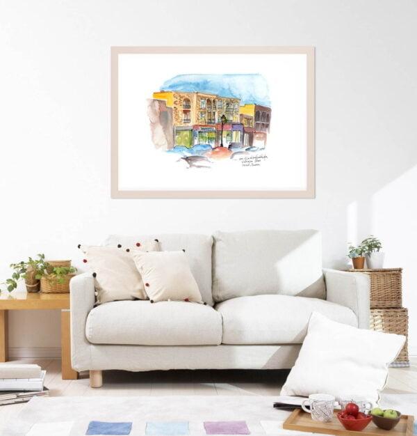 Montreal Art Prints - Extra Large Wall Art of Verdun Cityscape, Tabagie Wellington / Watercolor Sketch / City Print by Karolina Szablewska