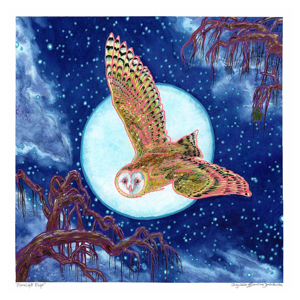 owl flying past moon in starry night sky painting by karolin szablewska