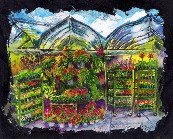 flower garden atwater market montreal art by karolina szablewska en plein air painting
