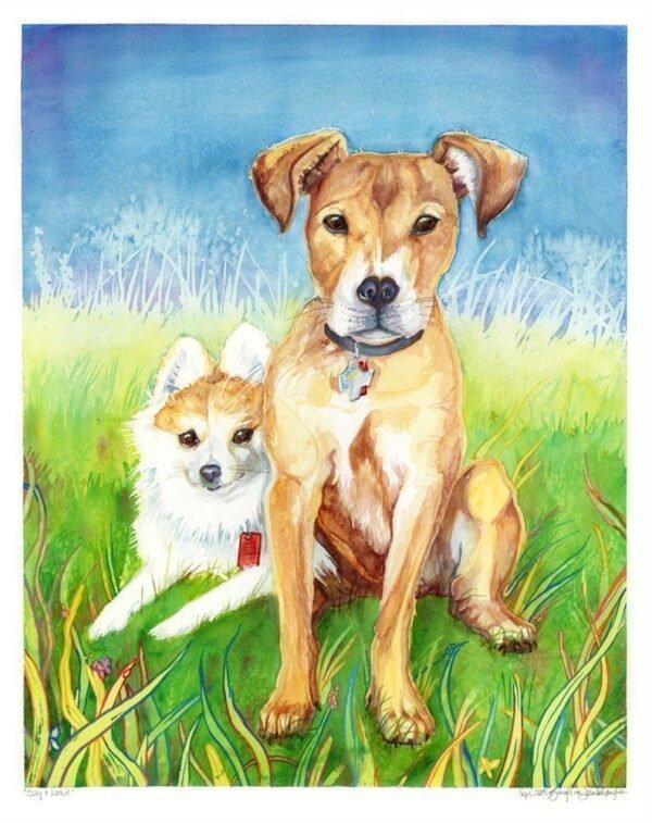 "18""x24"" Custom Pet Portrait in Watercolor - Dog Portrait / Cat Portrait / Animal Portrait by Karolina Szablewska"