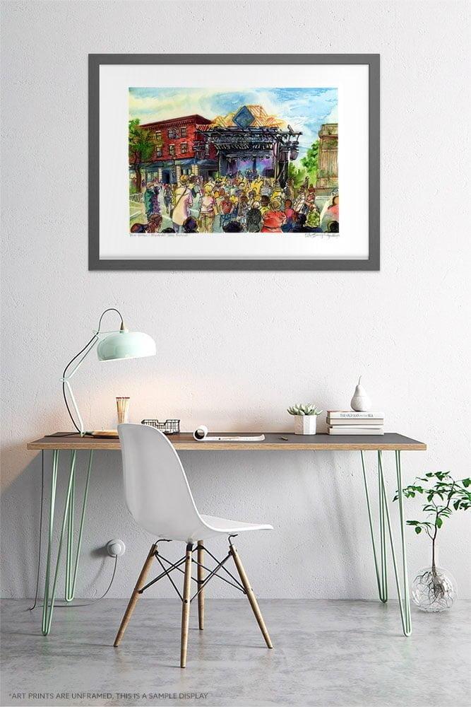 Montreal Art Prints - Extra Large Wall Art of First Verdun Jazz Festival Urban Sketch / Montreal Jazz Festival / City Street Print by Karolina Szablewska