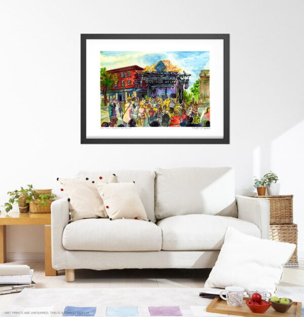 Montreal Art Prints - Extra Large Wall Art of First Verdun Jazz Festival Urban Sketch / Montreal Jazz Festival / City Street Print by Karolina Szablewska