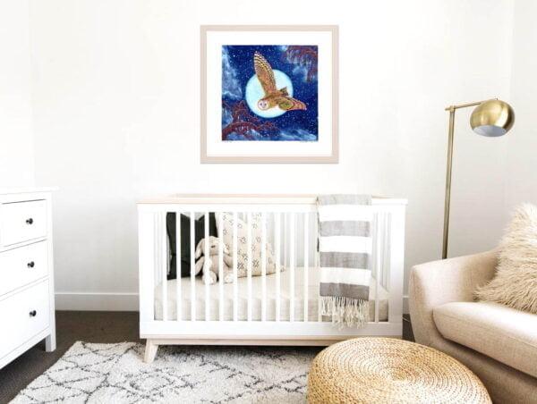 Owl Art Print - Moon Print / Extra Large Wall Art of Owl in Starry Night Sky Painting / Woodland Animals / Animal Nursery Decor by Karolina Szablewska