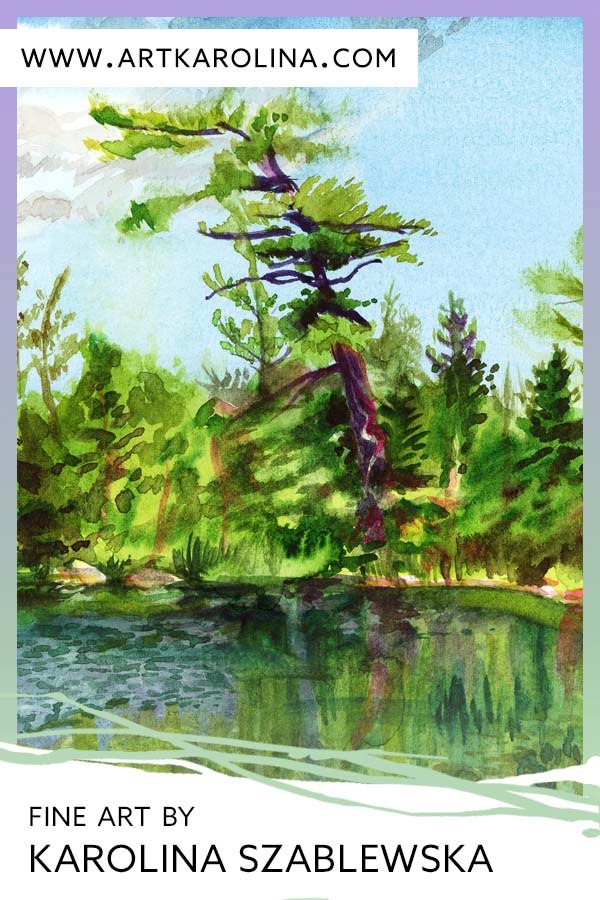 Tree Art Print - Extra Large Wall Art of Boreal Forest Tree Painting in Watercolor / Nova Scotia, Canadian Landscape Painting by Karolina Szablewska