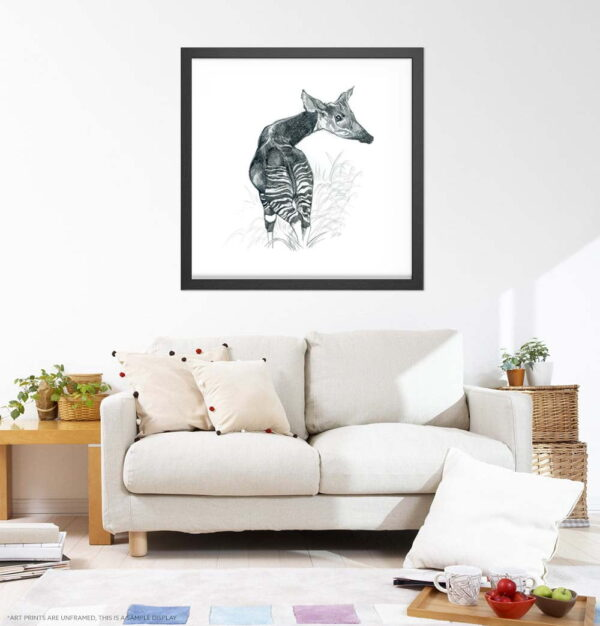 Okapi Art Prints - Extra Large Wall Art of Realistic Okapi Pencil Drawing / Realism Art / Nature Wall Art / African Safari Wildlife by Karolina Szablewska