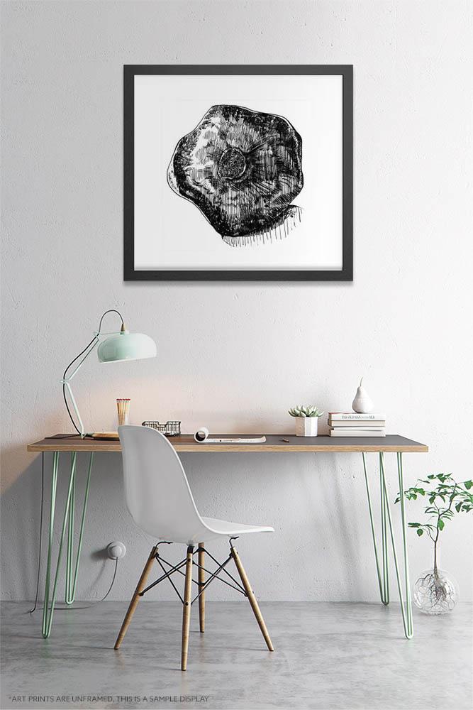 Kitchen Wall Art Prints - Inktober Pomegranate/ Ink Drawing of Pomegranate / Kitchen Extra Large Wall Art of All Sizes by Karolina Szablewska
