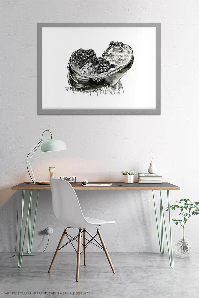 Kitchen Art Prints - Inktober Extra Large Wall Art / Ink Drawing of Inside of Pomegranate / Fruit Wall Art by Karolina Szablewska