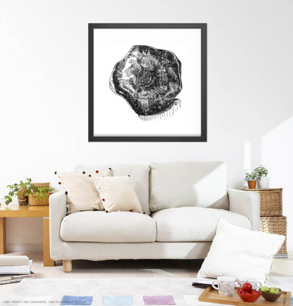 Kitchen Wall Art Prints - Inktober Pomegranate/ Ink Drawing of Pomegranate / Kitchen Extra Large Wall Art of All Sizes by Karolina Szablewska