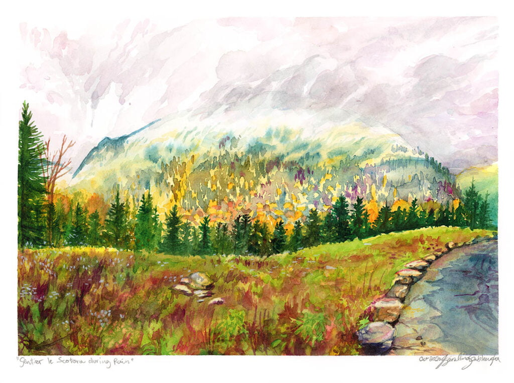 scotora trail foggy mountain watercolor painting by karolina szablewska