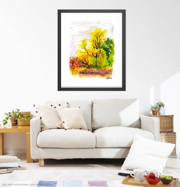 Autumn Landscape Art Prints - Extra Large Wall Art / Plein Air Painting of Yellow Trees / Fall Colors / Botanical Gardens by Karolina Szablewska