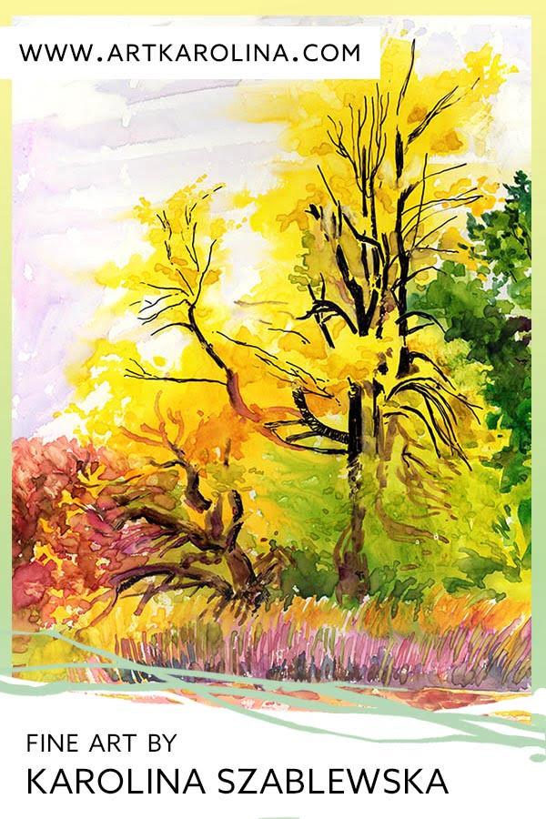 Autumn Landscape Original Art - Watercolor Golden Yellow Tree on Yupo Paper / Plein Air Painting by Karolina Szablewska