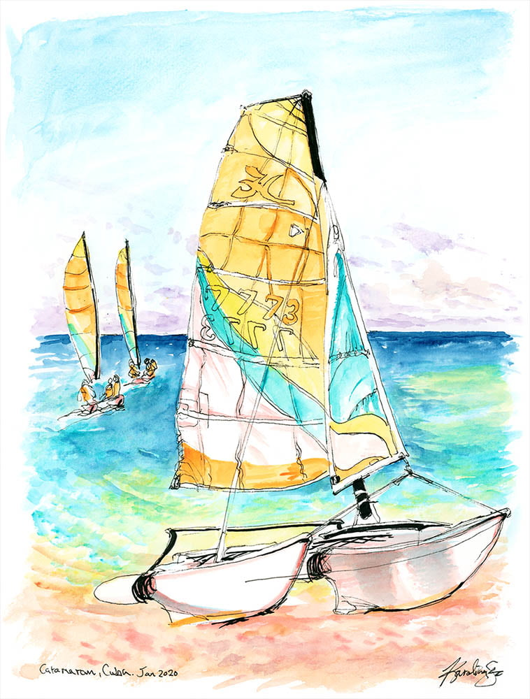 cuba catamaran watercolor painting by karolina szablewska