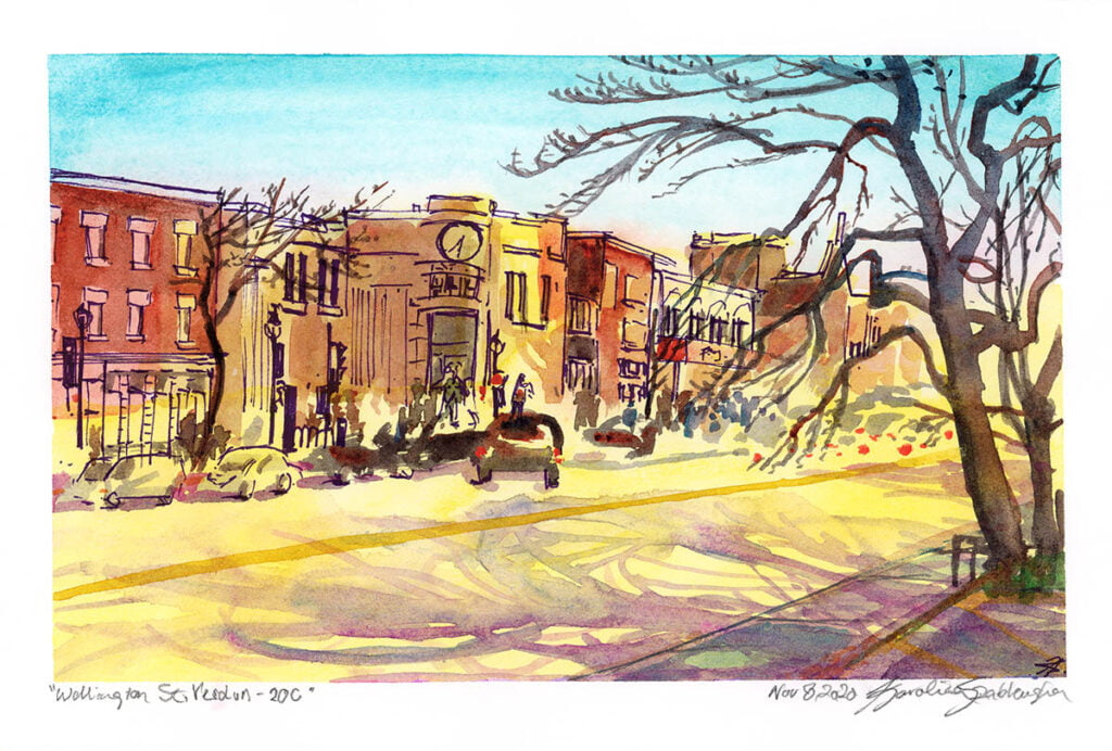 wellington st verdun montreal urban sketch watercolor painting by karolina szablewska