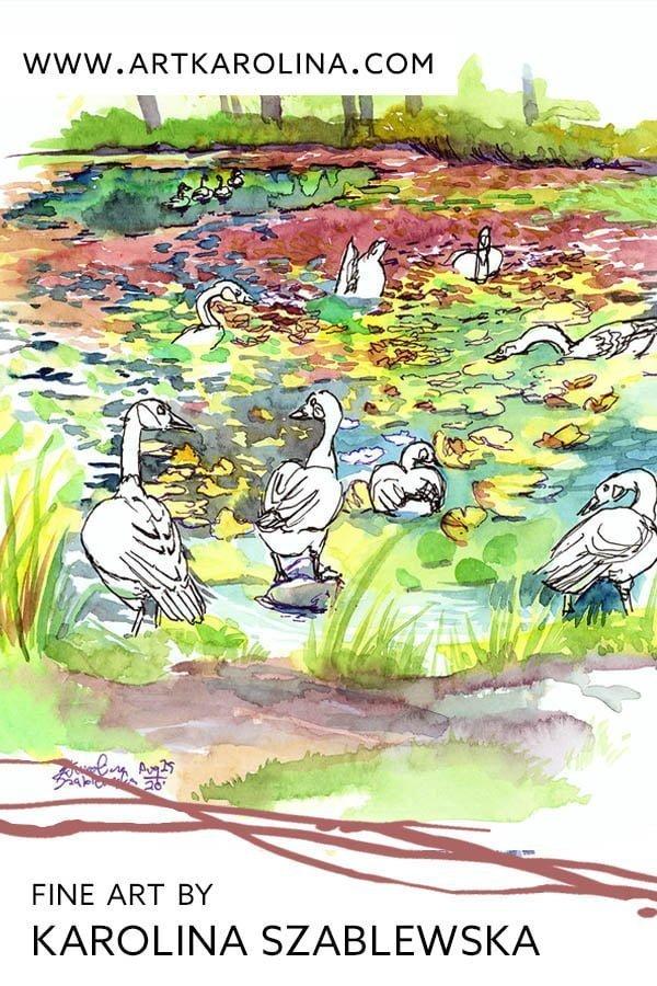 Canada Geese Print - Extra Large Wall Art of Canada Geese at Botanical Gardens in Montreal / Animal Decor by Karolina Szablewska