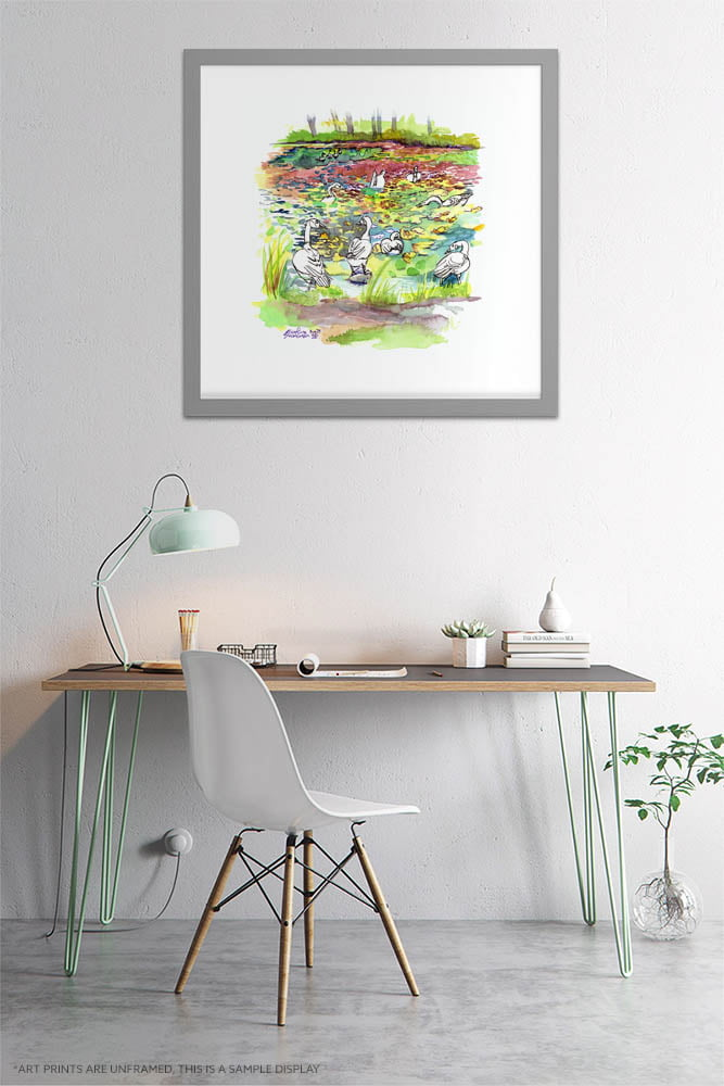 Canada Geese in Botanical Gardens Watercolor Painting by Karolina Szablewska - Home Office Wall Art
