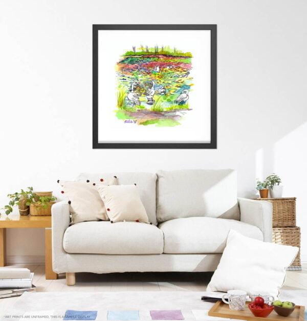 Canada Geese in Botanical Gardens Watercolor Painting by Karolina Szablewska - White Living Room Wall Art