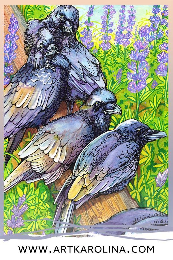 Crow Art Print - Extra Large Wall Art of Raven Watercolor Painting / Whimsical Woodland Animal Decor / Gothic Home Decor by Karolina Szablewska