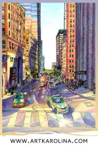 Downtown Toronto Watercolor Painting by Karolina Szablewska by Karolina Szablewska