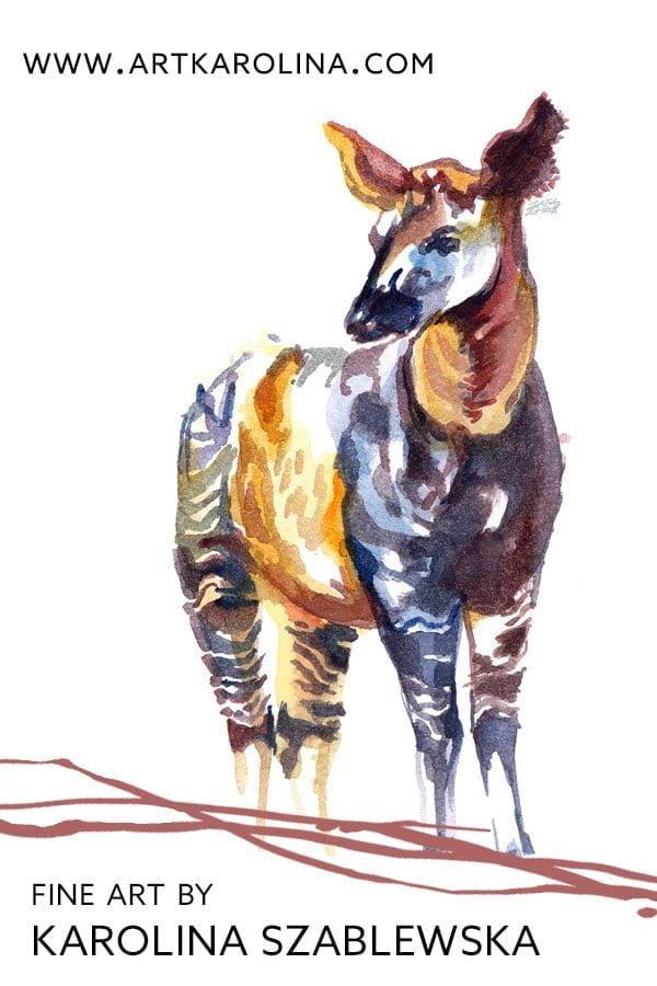 Okapi Art Print - Minimalist Wildife Art / African Safari Nursery Decor by Karolina Szablewska