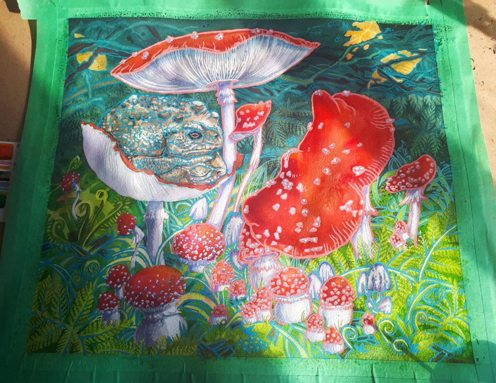 Work in Progress - Toads on Toad Stools watercolor painting by Karolina Szablewska