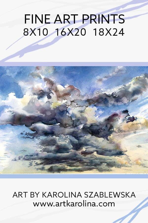 Clouds Art Print - Cloudy Sky Large Wall Art of Watercolor Landscape Painting / Sky Painting / Cloud Painting by Karolina Szablewska