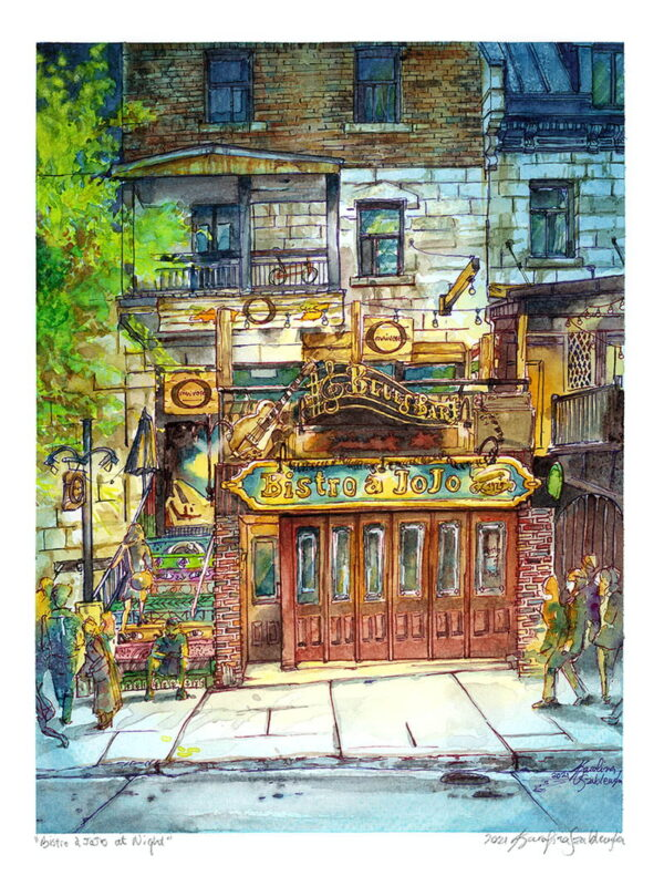 bistro a jojo blues bar montreal art watercolor painting by karolina szablewska