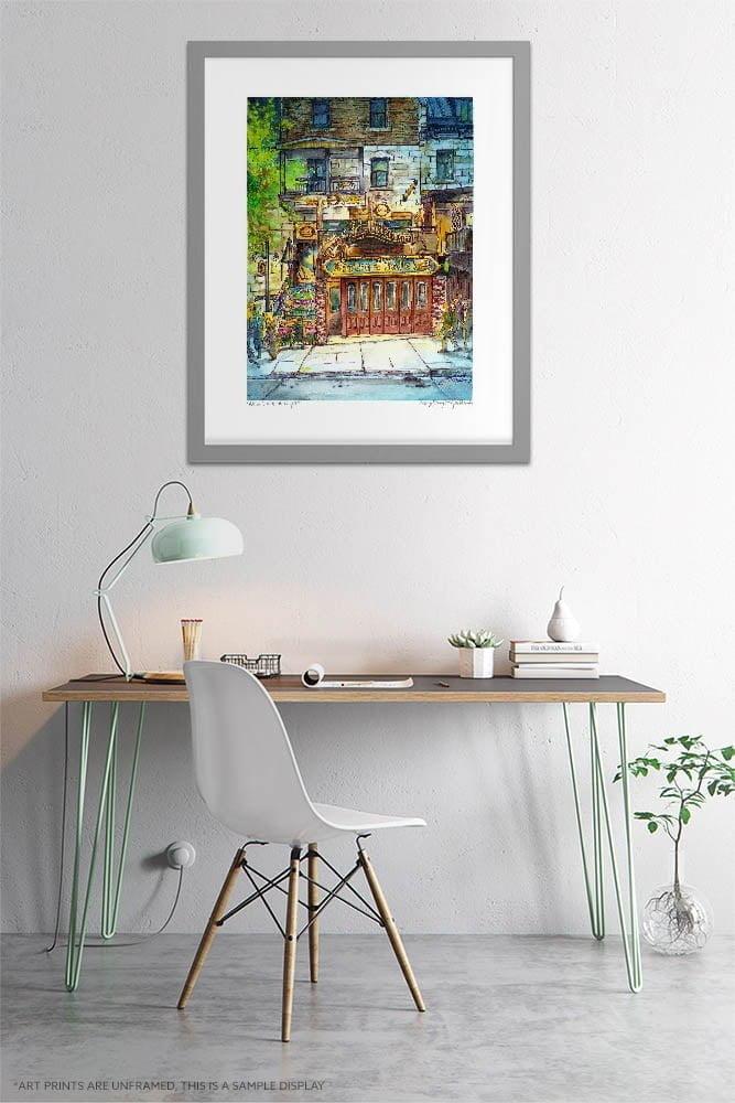 Bistro a Jojo Blues Bar Watercolor Painting by Karolina Szablewska - Home Office Wall Art