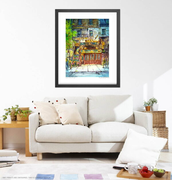 Montreal Art - Extra Large Wall Art Prints of Bistro a Jojo Blues Bar, Plateau, Quebec, Canada in Watercolor and Ink by Karolina Szablewska