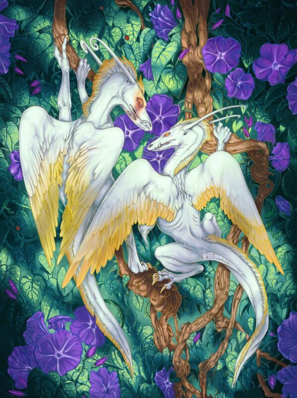 Morning Glories and Angel Dragons digital art by karolina szablewska procreate