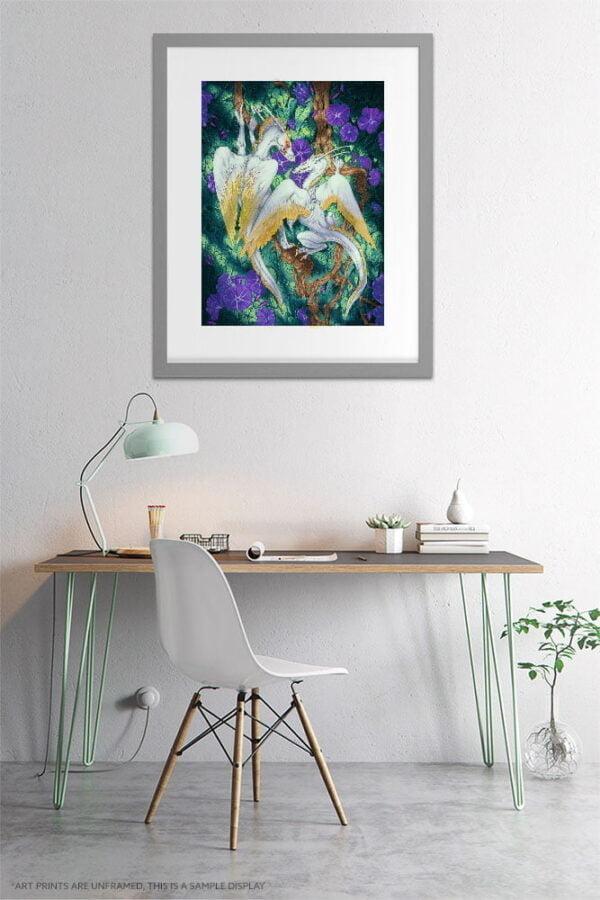 White Angel Dragon Art Prints - Extra Large Wall Art of Watercolor Dragon Painting / Fantasy Decor Art / Dragon Decor by Karolina Szablewska