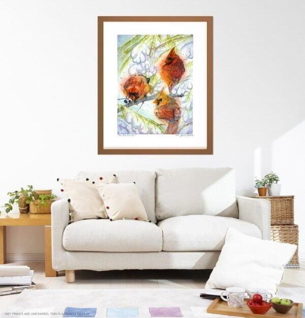Cardinal Art Prints - Extra Large Wall Art of 3 Red Cardinals in the Winter Snow / Farmhouse Decor Art / Whimsical Animal Wall Art / Birding / Bird Watching / Canadian Wildlife by Karolina Szablewska