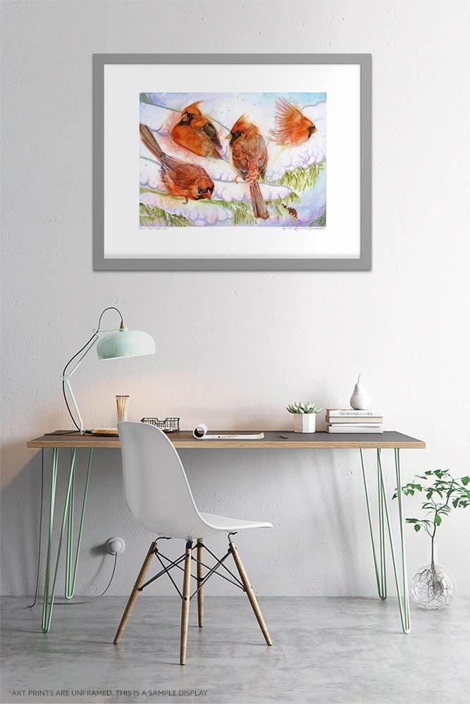 Cardinal Art Prints - Extra Large Wall Art of 4 Red Cardinals in the Winter Snow / Farmhouse Decor Art / Whimsical Animal Wall Art / Birding / Bird Watching / Canadian Wildlife by Karolina Szablewska