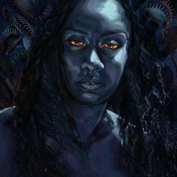 Venus Fly Trap Woman Digital Painting by Karolina Szablewska
