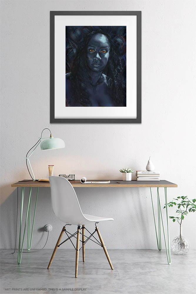 Surreal Print - Extra Large Wall Art / Woman with Venus Fly Trap / Dark Weird Art / Dark Surrealism Figure Drawing by Karolina Szablewska