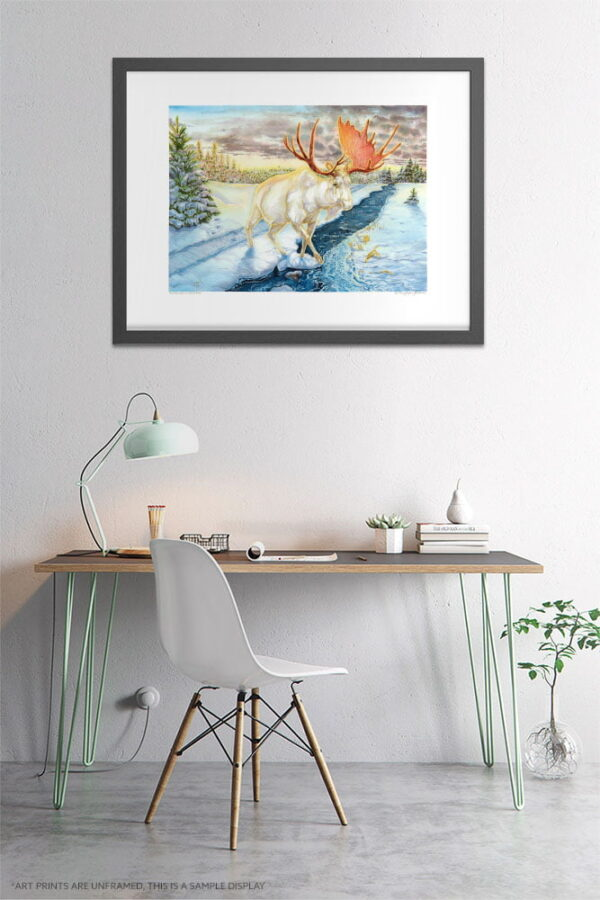 White Moose Watercolor Painting