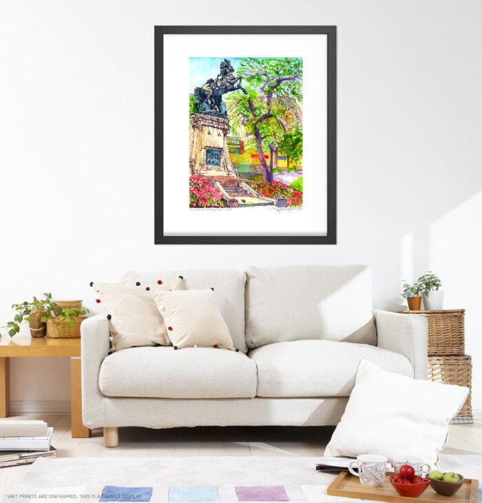 Montreal Art - Extra Large Wall Art Prints of Statue in Dorchester Park, Downtown Montreal Quebec, Canada in Watercolor and Ink by Karolina Szablewska