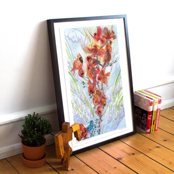 Red Cardinal Art Print - Extra Large Wall Art of Red Cardinals on Snowy Spruce / Birding / Birdwatching / Winter Decor / Watercolor Bird Decor by Karolina Szablewska