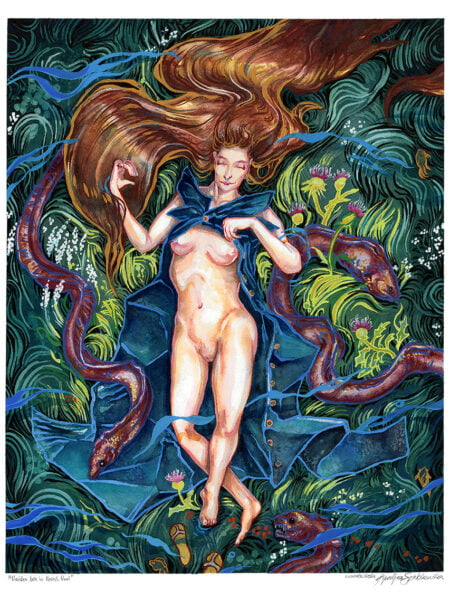 naides water nymph in forest watercolor painting by karolina szablewska