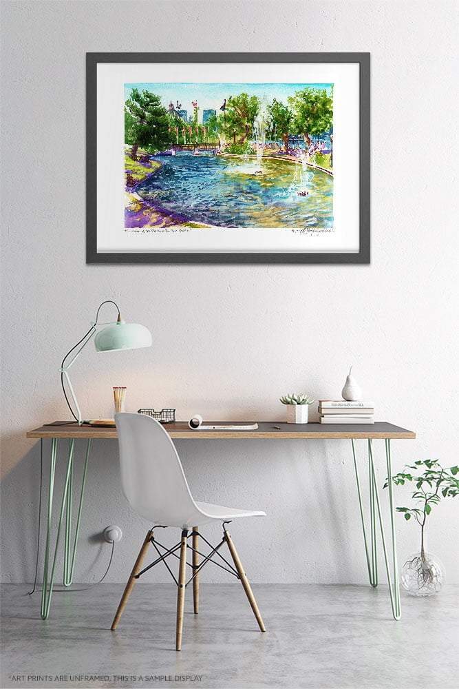Montreal Art - Extra Large Wall Art Prints of Fountain in Montreal Old Port Quebec, Canada in Watercolor and Ink by Karolina Szablewska