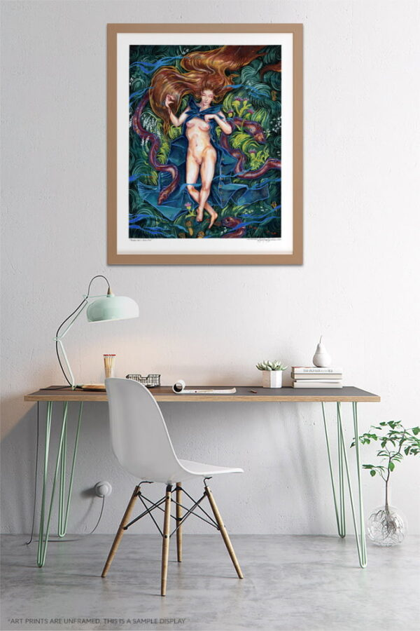 Fantasy Print - Extra Large Wall Art / Water Nymph / Whimsical Figurative Art / Fantasy Art Female Nude by Karolina Szablewska